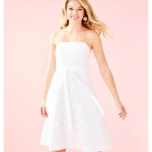 Lilly Pulitzer Sienna White Lace Strapless Dress